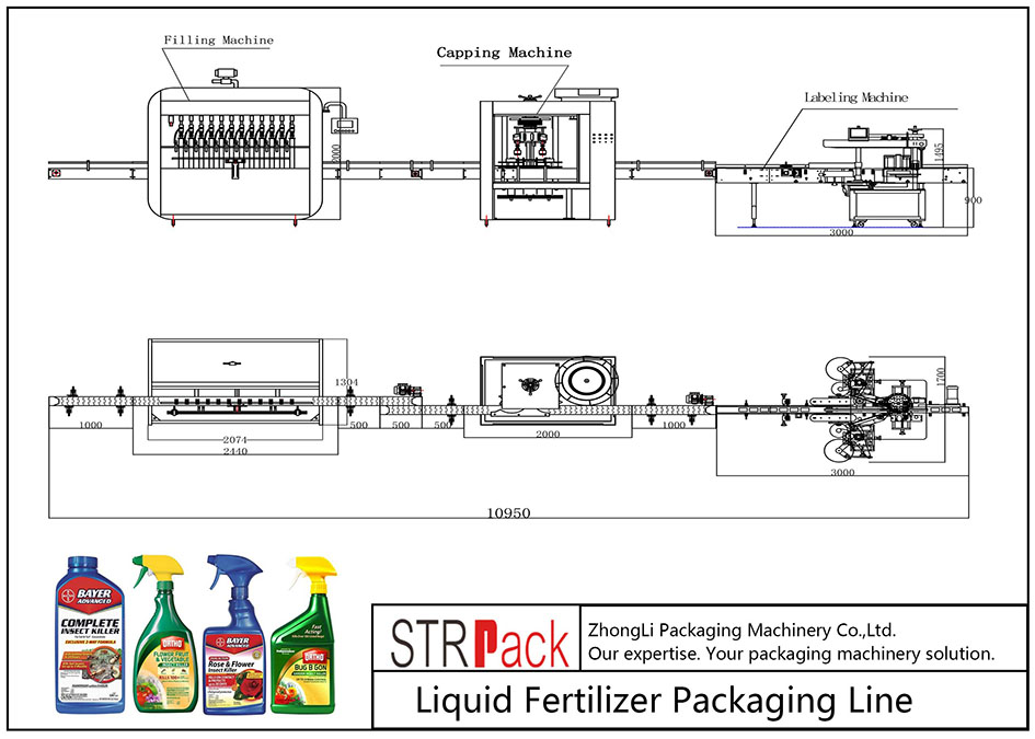 Автоматическая линия упаковки жидких удобрений